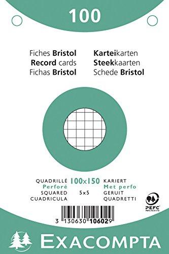 Exacompta 10602E Paquet de 100 Fiches Bristol sous film 10 x 15 cm quadrillées 5x5 perforées Blanches