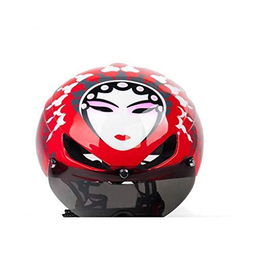 TYXHZL Fiets Beijing Opera Masker Helm Mountainbike Rijhelm Magnetische Schuifbril Fiets Accessoires