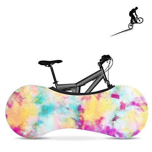 BDYD Fahrradradabdeckung, Fahrradabdeckung, staubdichte elastische Innenabdeckung, waschbar für die meisten Fahrradaufbewahrungsbeutel-Schutzabdeckungen,Rainbow2