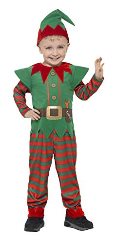 Smiffys-21489S Disfraz de Elfo para niño pequeño, con Mono y Gorro, Color Rojo y Verde, S-Edad 4-6 años (Smiffy'S 21489S)