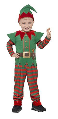 Smiffys-21489T2 Disfraz de Elfo para niño pequeño, con Mono y Gorro, Color Rojo y Verde, Edad 3-4 años (Smiffy'S 21489T2)