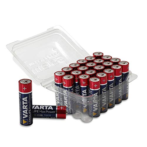 VARTA Longlife Max Power Batterie AA Mignon Alkaline Batterien LR6 in praktischer Batteriebox von Weiss - More Power +, 24er Box