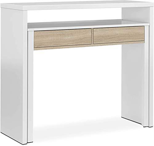Mobelcenter - Mesa Escritorio Extensible con 2 Cajones - Consola Estudio Extensible - Color Blanco Artik y Roble Canadian - Medidas: Ancho: 98,5 cm x Alto: 87,5 cm x Fondo: 36-70 cm - (0902)