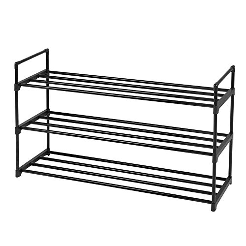 SONGMICS 3-Tier Shoe Rack, Metal Storage Shelves Hold up to 15 Pairs of Shoes, for Living Room, Entryway, Hallway and Cloakroom, 92 x 30 x 54 cm, Black LSA13BK