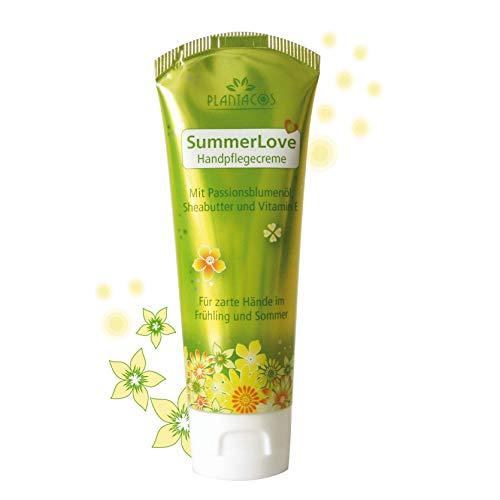 PLANTACOS leichte Handcreme SummerLove / Hautcreme für Frühling und Sommer / frische Pflege Creme für sehr trockene Hände / zarte Haut dank Sheabutter + Vitamin E / 50 ml