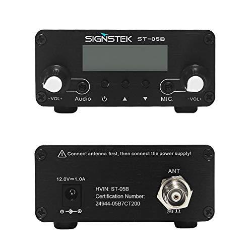 Signstek ST-05B FM Transmitter for Church, Dual Mode Long Range Stereo Broadcast with Antenna, Black