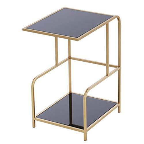 Tables basses Salon Petite Table À Thé Trempé en Verre Fer Forgé Multi-Fonctions Double Couche Côté Cadeau (Color : Black, Size : 42.5 * 42.5 * 62cm)