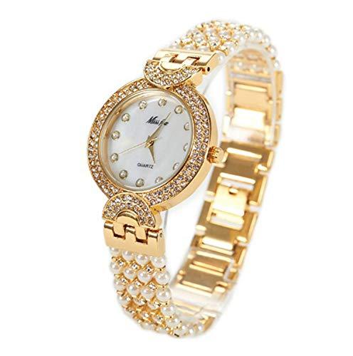 Reloj de pulsera para mujer, cuarzo, impermeable, no mecánico, redondo, para fiesta, incluye plato/oro, plata y oro