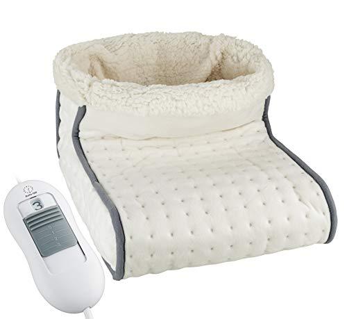 Heimwert Calientapies eléctrico con forro interior lavablet, Ajuste de calor con control remoto, 3 niveles de calefacción seleccionables, Protección contra sobrecalentamiento con apagado automático