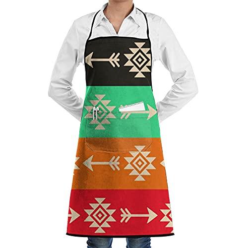 FAKAINU Delantal de cocina,Patrón de vector transparente azteca con flechas, arte tribal indio Retro tela Navajo,Apto para restaurantes, delantales impermeables y antiincrustantes.