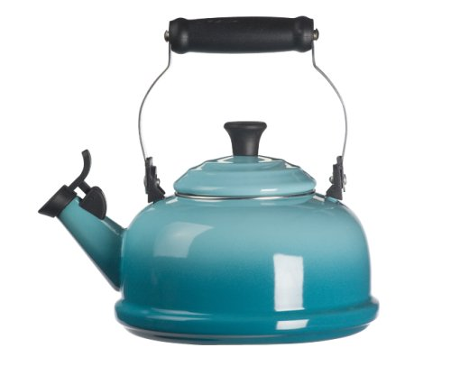 Le Creuset Enamel On Steel Whistling Tea Kettle, 1.7 qt., Caribbean