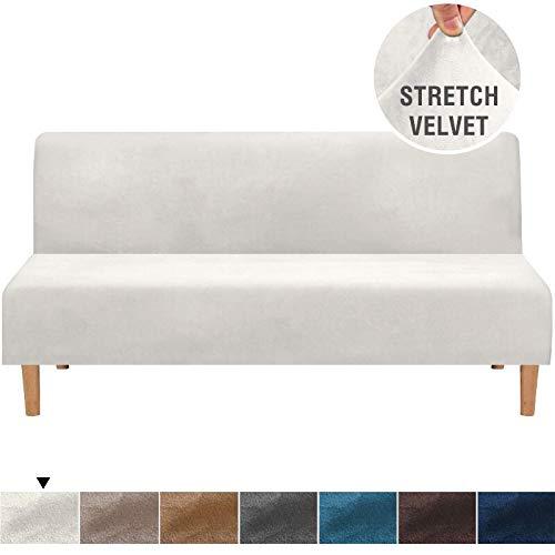 ABUKJM Sofabezug ohne Armlehne, Samtplüsch, für Sofa / Bett / Sitz, für Wohnzimmer / Sofa, universeller elastischer Schonbezug, weiß, S 145-185cm