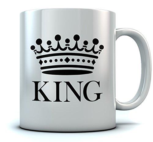 KING Crown Coffee Mug Valentine's Day Gift/Wedding Gift/Couples Gift Tea Mug 15 Ounce White