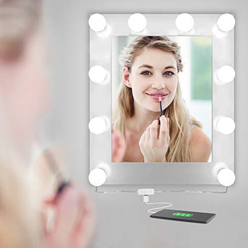 AILUKI Hollywood 10 Stück LED Spiegelleuchte Dimmbar USB Spiegelstreifen Beleuchtung Make-up Licht Spiegellampe Schminklicht Lampe für Frisierkommode Kosmetikspiegel Schminkspiegel DIY Leuchten Deko
