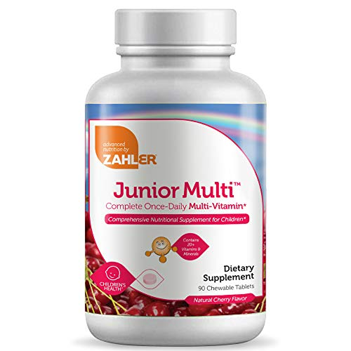 Junior Multivitamin and Mineral Supplement - for Kids, Delicious Best Tasting Cherry Chewable Tablets by Zahler. All Natural Color and Flavor, 90 Chewable Tablets.