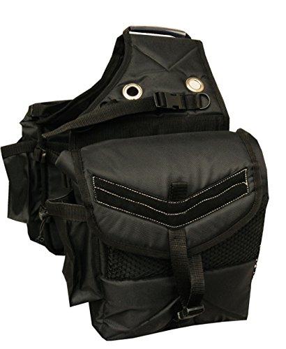 """Reitsport Amesbichler AMKA Satteltasche Packtasche fr Pferde wattiert mit zus""""tzlich 4 seitlichen Taschen, schwarz Horse Saddle Gear Carrier Saddle Bag"""