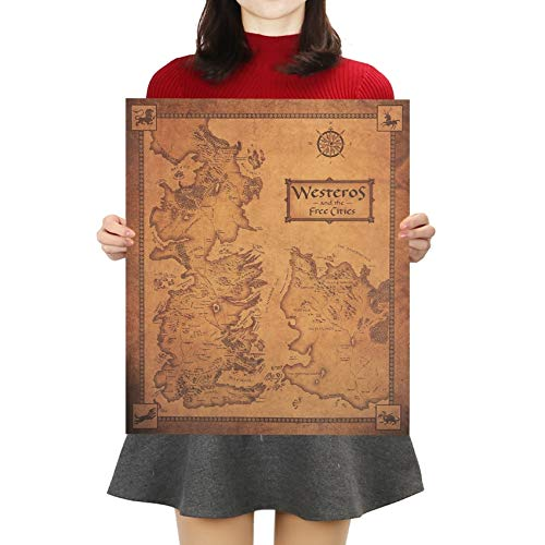 Game Of Thrones Westeros Karte Retro Kraftpapier Poster Interieur Bar Cafe Dekorative Malerei Wandaufkleber 42x36cm