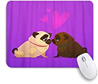 ZOMOY マウスパッド 個性的 おしゃれ 柔軟 かわいい ゴム製裏面 ゲーミングマウスパッド PC ノートパソコン オフィス用 デスクマット 滑り止め 耐久性が良い おもしろいパターン (かわいい漫画の3 Dでキスパグ犬子犬のカップル)