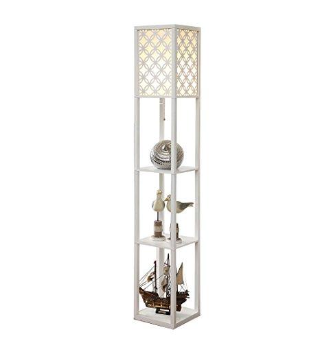 Restaurant chinois lampadaire salon chambre lampe de chevet étagère lumières pratiques (Couleur : Blanc)