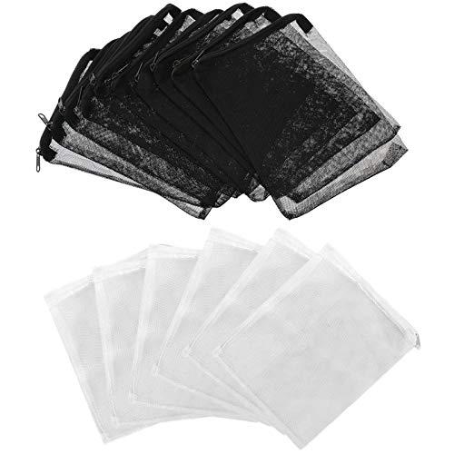 20 Stück Aquarium Mesh Filter Taschen mit Reißverschluss, Media Mesh Filter Taschen, Aquarium Mesh Taschen für Aquarium Garden (Schwarz, Weiß)