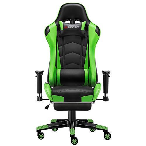 JL Comfurni Gaming Stuhl Bürostuhl mit Fußstütze Ergonomischer Computerstuhl Racing Lehnstuhl höhenverstellbar Schreibtischstuhl mit verstellbaren Armlehnen aus Kunstleder Grün