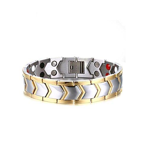 USUASI Pulsera magnética de Acero de Titanio Doble Dorado para Hombre a Amigos TBRM-030