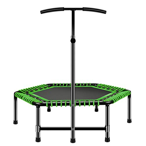 KOQIO 48' Indoor Fitness Trampoline with Handle Bar, Indoor Height Adjustable Fitness Bouncer with Safety Enclosure Net for Exercise Jumping Trampoline,Green