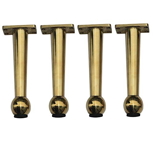 Furniture legs Nordic Edelstahl Titan Gold Kegel Halterung x4, Metallbett Fuß Couchtisch Stützfuß, Badezimmer Schrank Füße, Höhe 155 mm