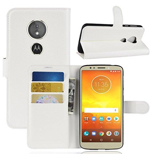 LMFULM® Hülle für Motorola Moto E5 (5,7 Zoll) PU Leder Magnet Brieftasche Lederhülle Litschi Muster Standfunktion Ledertasche Flip Cover für Moto E5 Weiß