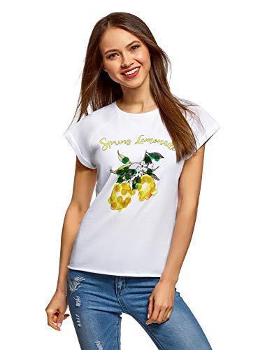 oodji Ultra Mujer Camiseta de Algodón con Estampado y Lentejuelas, Blanco, ES 46 / XXL