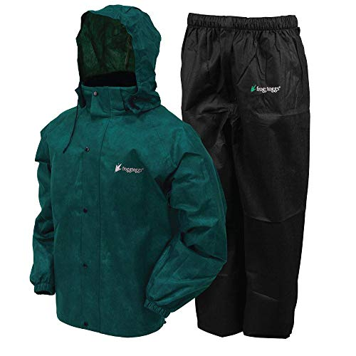 FROGG TOGGS Men's Classic All-Sport Waterproof Breathable Rain Suit, Dark Green Jacket/Black Pants, X-Large