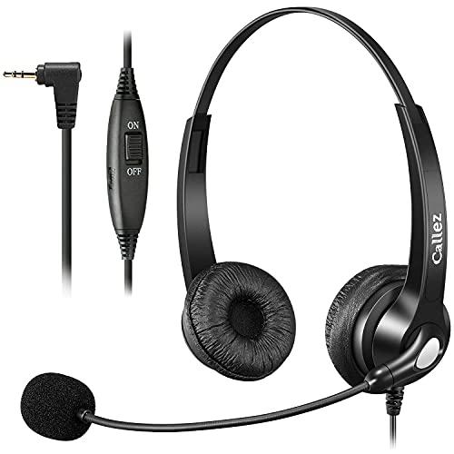 Cuffie per telefono da 2,5 mm con microfono a cancellazione del rumore, senza fili, compatibili con Panasonic Gigaset CL660 S850 C430A Grandstream Cisco SPA Polycom, trasparente