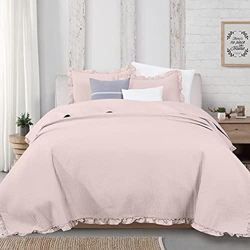 3-teiliges Bettwäsche-Set mit Rüschen, Kanalstich für King-Size-Bett, Tagesdecke, Steppdecken-Set, Azalea Collection (King Size, Blush)