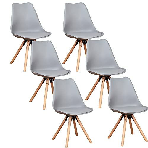 Holzgestell Esszimmerstuhl 6er Set, aus Kunstleder Nordisch Design Stuhl, Küchenstuhl, schminktisch-Grau