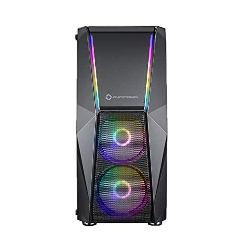Chiptronex HX2000 RGB Mid Tower ATX Cabinet with 2 x 120 mm ARGB Fans,Dual ARGB Strip, MB Sync, 1 x 120mm ARGB Fan, Supports ATX, Micro-ATX, Mini-ITX Motherboard with Tempered Glass Side Panel