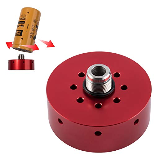 Opall Fuel Filter Adapter Refit Head for Chevy/GMC 2001 2002 2003 2004 2005 2006 2007 2008 2009 2010 2011 2012 2013 2014 2015 2016 Duramax Diesel & CAT 1R-0750 (RED)
