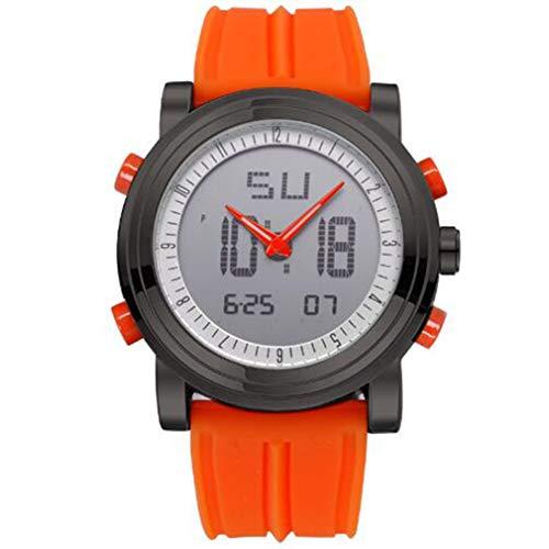 DWEMM Herren Digitaluhr, Herren Chronograph Armbanduhren, wasserdichte Geneva Quartz Sports Running Uhr, Leuchtend, 24 Stunden, Stoßfest