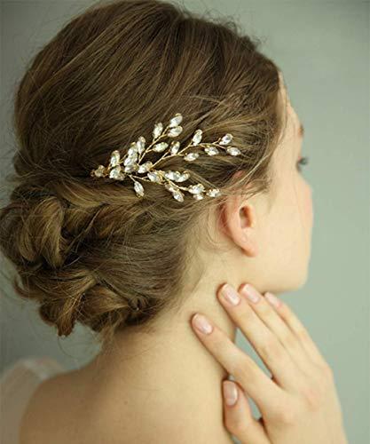 FXmimior Haarschmuck für Hochzeit, Braut, Blatt mit Kristall, Haarkamm, Kopfschmuck, Strass
