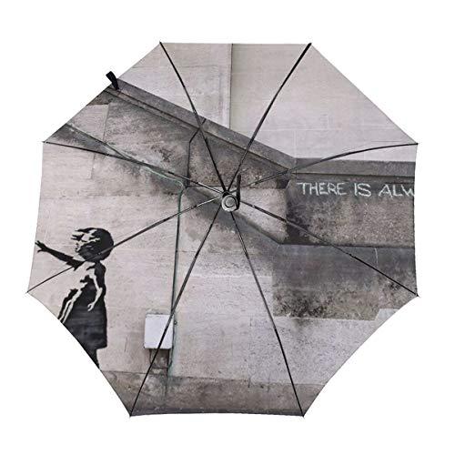 The Banksy Regenschirm für Mädchen, automatisches Öffnen/Schließen, kompakt, winddicht, regenfest
