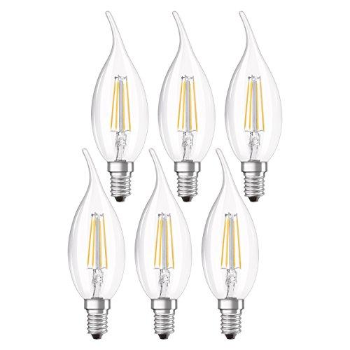 Osram Ampoule LED Filament, Forme flamme, Culot E14, 4W Equivalent 40W, 220-240V, claire, Blanc Chaud 2700K, Lot de 6 pièces