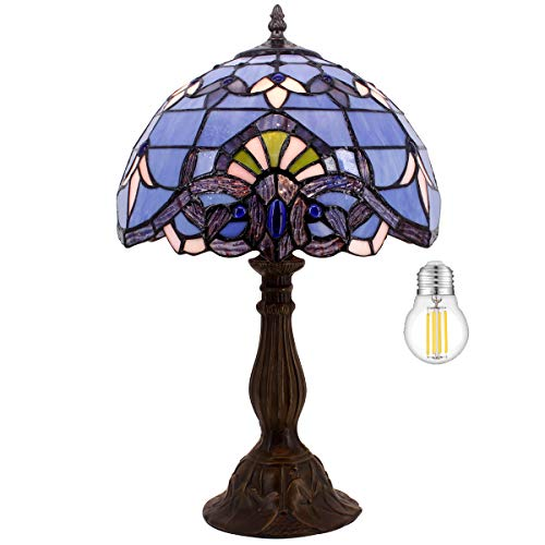 Tiffany Table Lamp W12H18 Inch (LED Bulb Included) Blue Purple Baroque Style Stained Glass Lavender Shade Antique Base S003C WERFACTORY Desk Reading Light Lover Living Room Bedroom Bar Art Craft Gifts