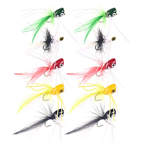 wifreo Fly Fishing Popper Lures for Sunfish Bluegill Crappie Bass...