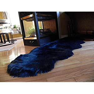 Sheepskin Luxury Fluffy Soft Faux Fake Fur Area Rug for Bedroom Floor, Dark Blue with Teal Reflections, Shaggy Runner, Chair Sofa Cover, 2 x 6 Feet