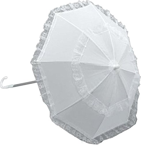Fancy Dress Party Costume Accessory 1920s Long Handle Parasol Umbrella White
