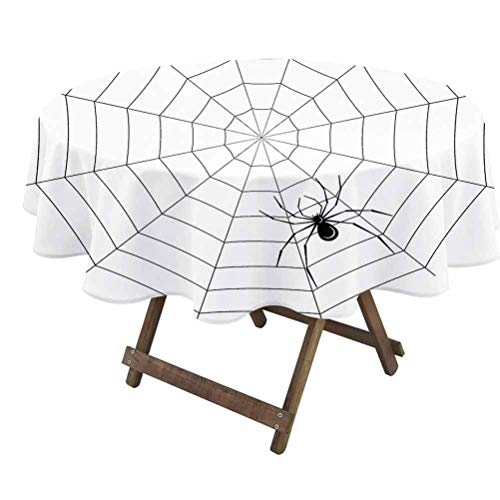 prunushome Spider Web Table Covers Toxic Poisonous Insect Thread Crawly Malicious Bug Halloween Character Design 100% Polyester, No Iron, Soil Resistant Black White | 70' Round