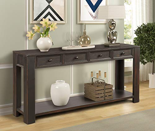 """Rhomtree 64"""" Rustic Console Table for Entryway Wood Sofa Side Table with Drawer and Shelf Storage for Hallway Accent Occasional Table Home Living Room Furniture (Black)"""