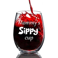 Mommy's Sippy Cup おもしろワイングラス 母の日ギフト 彼女へのギフト お母さんへの誕生日プレゼント イブニングマグ ノベルティ ステムレスワイングラス 15オンス ステムレスワイングラス