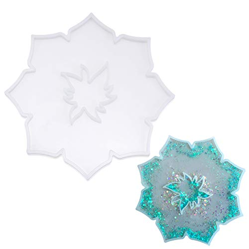 dressplus 2Pcs DIY Resin Coaster Molds Small Large Flower Shaped Geode Silicone Mold Round Bowl Cup Mat Tray Molds Home Decoration (1pc-Flower)