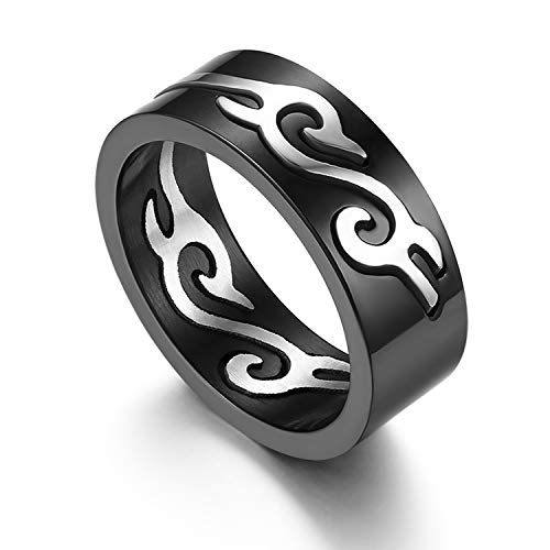 JewelryWe Anello da Uomo in Acciaio Inossidabile Colore Nero Disegno Fuoco Anelli Banda Nero Vuoto Drago