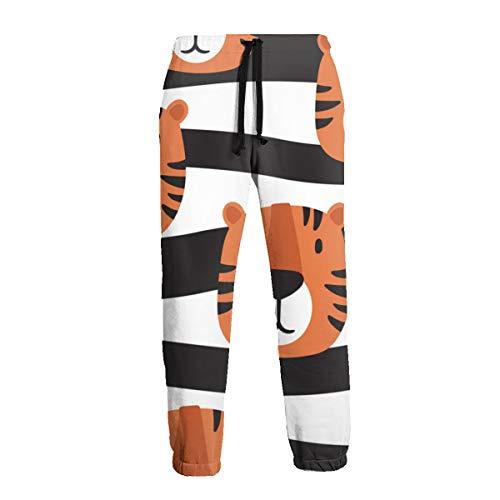 Bozal de Tigres Pantalón de Chándal para Hombres con Fondo Dibujado